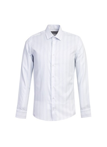 Kiğılı Uzun Kol Çizgili Slim Fit Gömlek Mavi